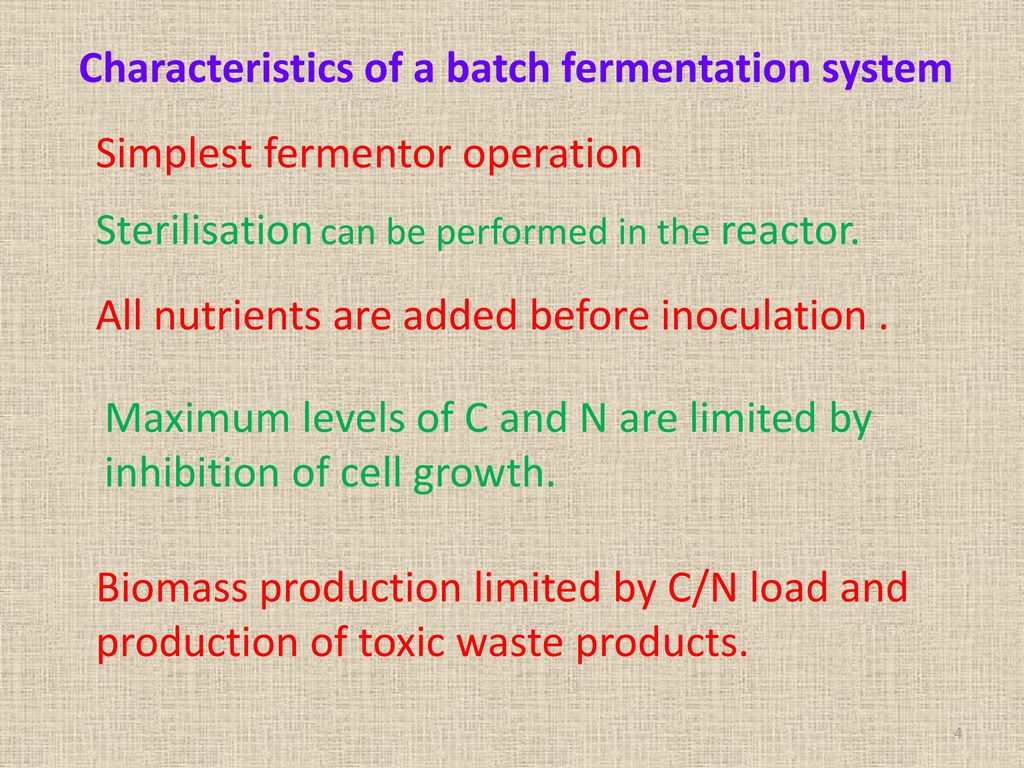 Characteristics of a batch fermentation system
