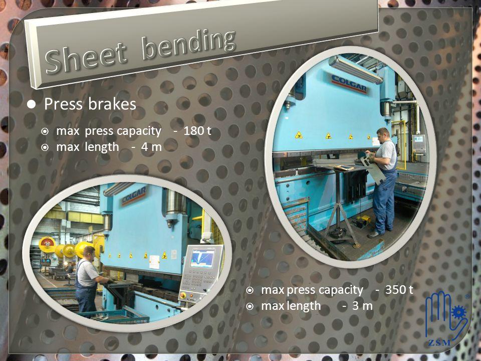 Sheet bending Press brakes max press capacity - 180 t max length - 4 m