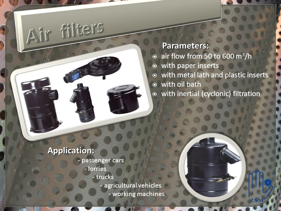 Air filters Parameters: Application: air flow from 50 to 600 m3/h