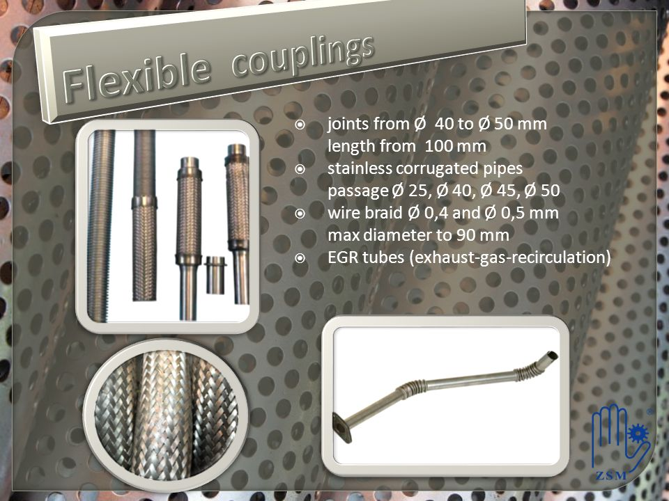 Flexible couplings joints from Ø 40 to Ø 50 mm length from 100 mm