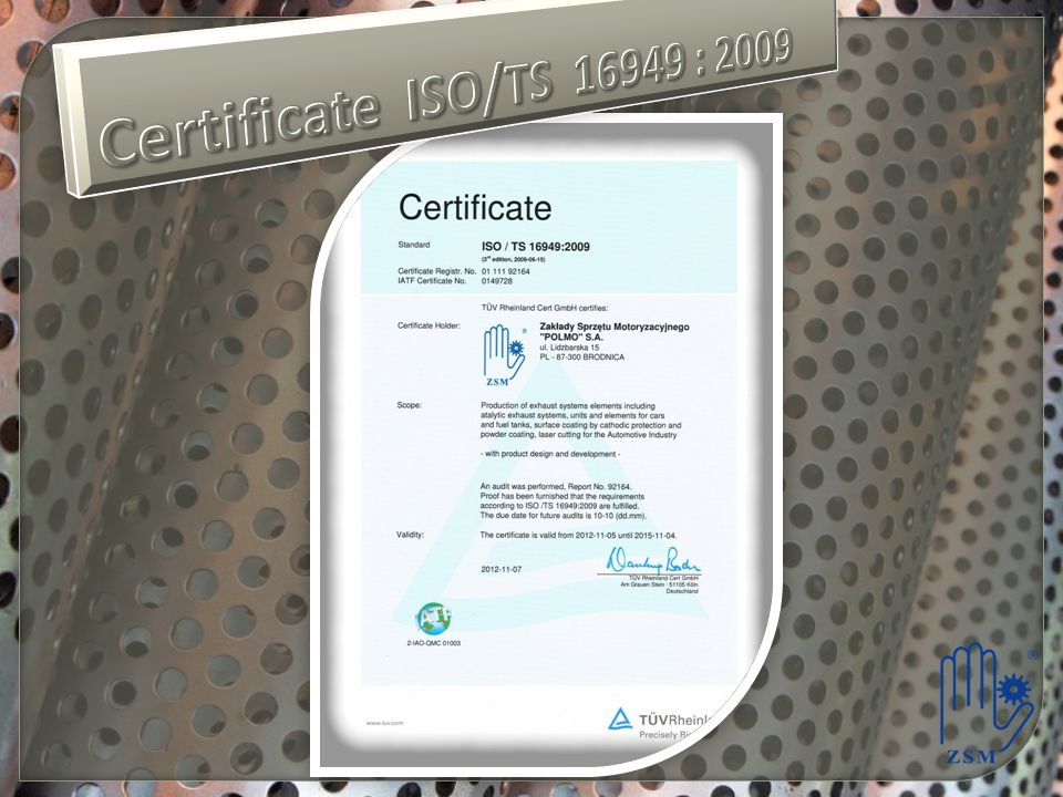 Certificate ISO/TS 16949 : 2009