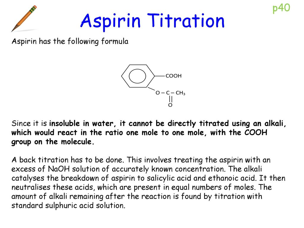 Chemistry question: acetylsalicylic acid concentration, back titration?