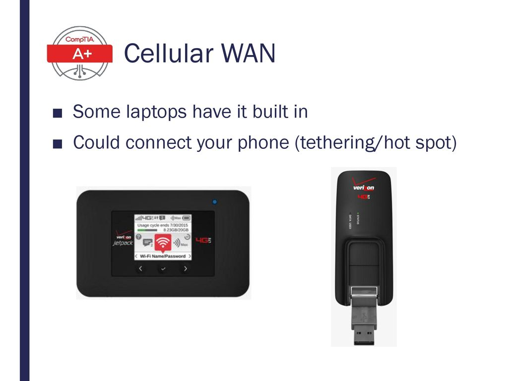 Cellular WAN Some laptops have it built in
