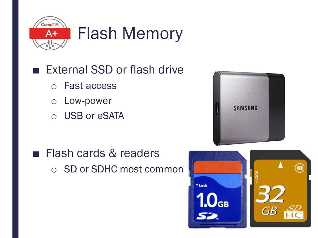 Flash Memory External SSD or flash drive Flash cards & readers