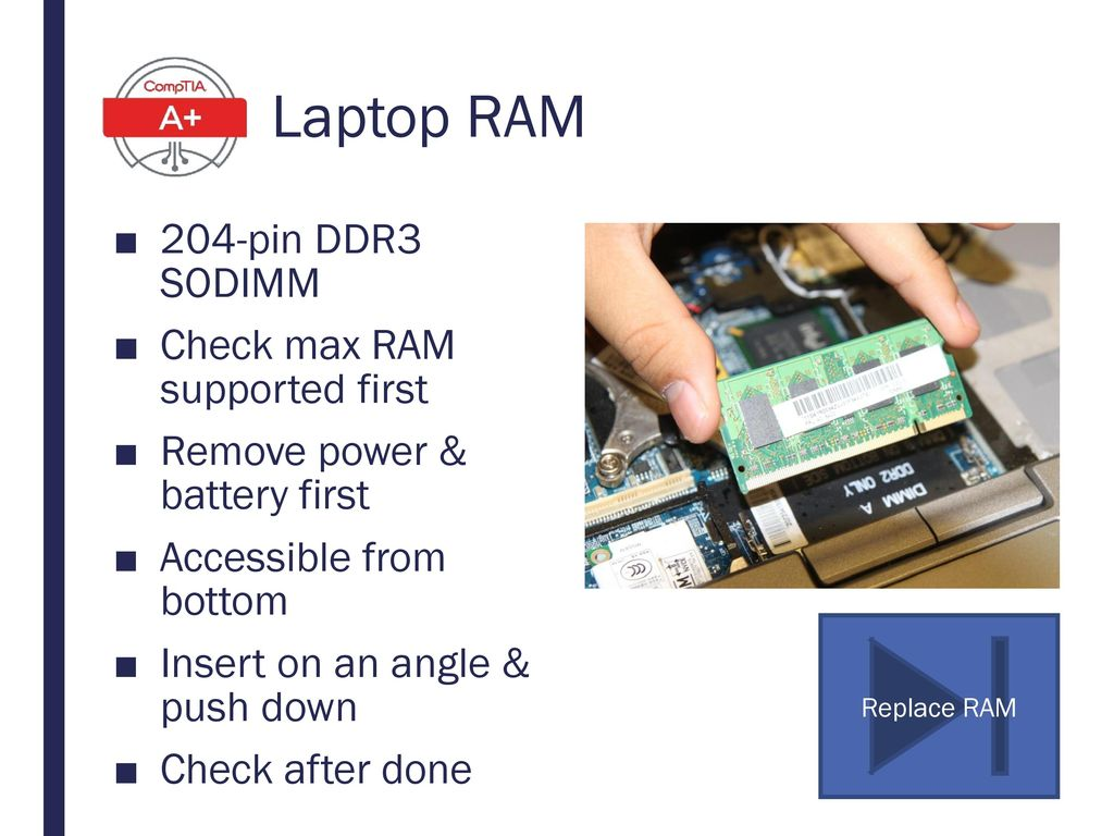 Laptop RAM 204-pin DDR3 SODIMM Check max RAM supported first