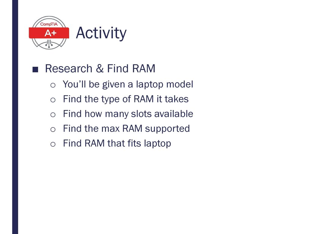 Activity Research & Find RAM You'll be given a laptop model
