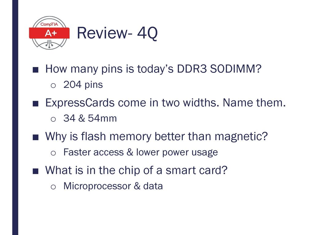 Review- 4Q How many pins is today's DDR3 SODIMM