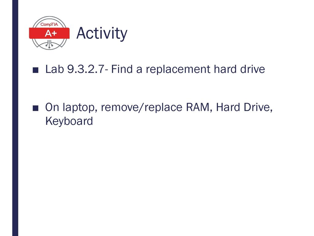 Activity Lab 9.3.2.7- Find a replacement hard drive