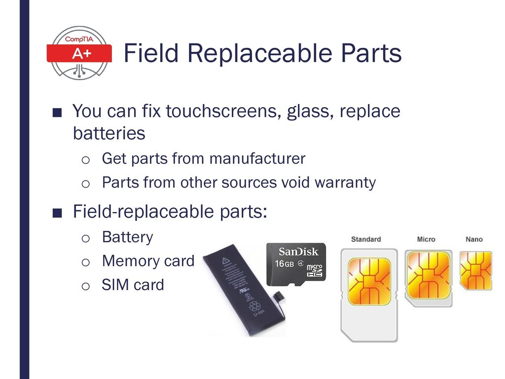 Field Replaceable Parts