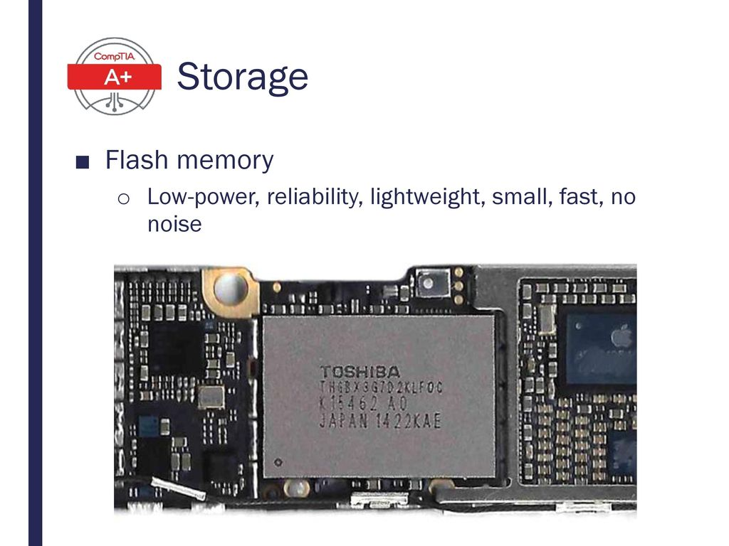 Storage Flash memory Low-power, reliability, lightweight, small, fast, no noise