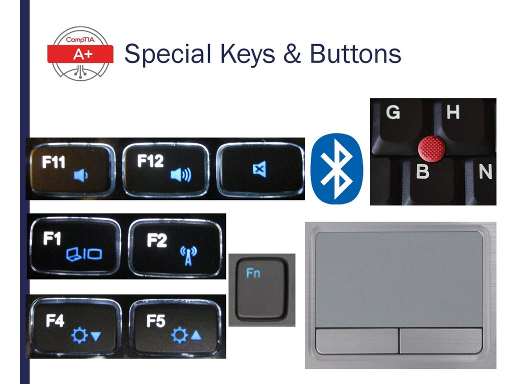 Special Keys & Buttons Volume, Brightness, Dual Displays, Bluetooth/WiFi On & Off, Touchpad, Pointing Stick, Bluetooth logo.