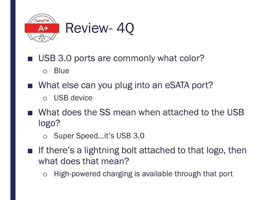 Review- 4Q USB 3.0 ports are commonly what color