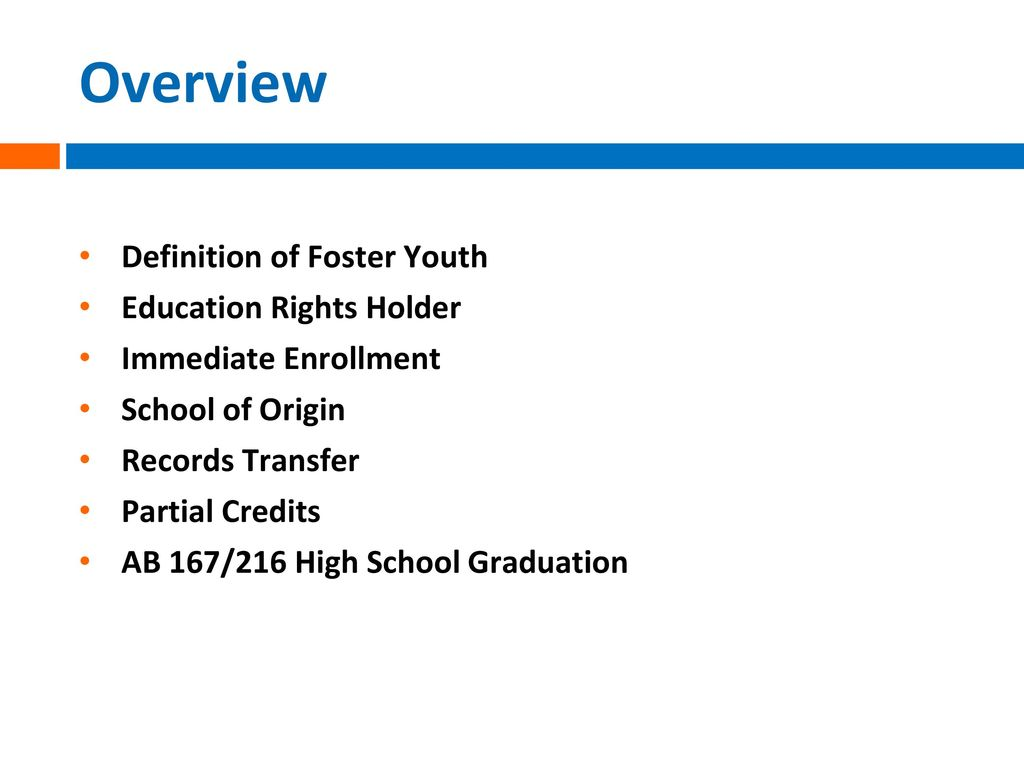 Overview Definition Of Foster Youth Education Rights Holder