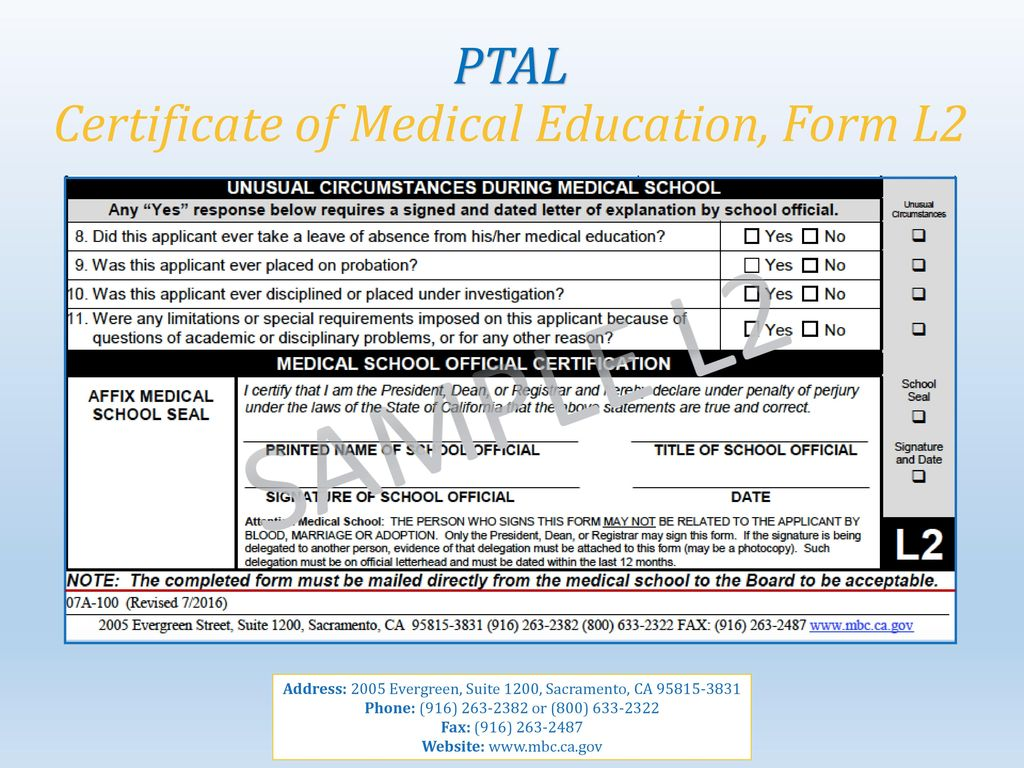Study certificate form