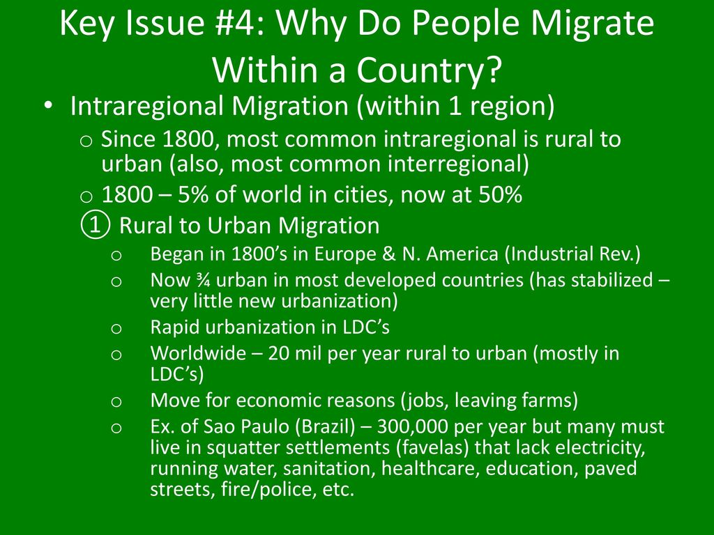 the migration of people to cities If wages are so much higher in cities, as documented by large rural-urban  productivity gaps in virtually every country, then why do people still.
