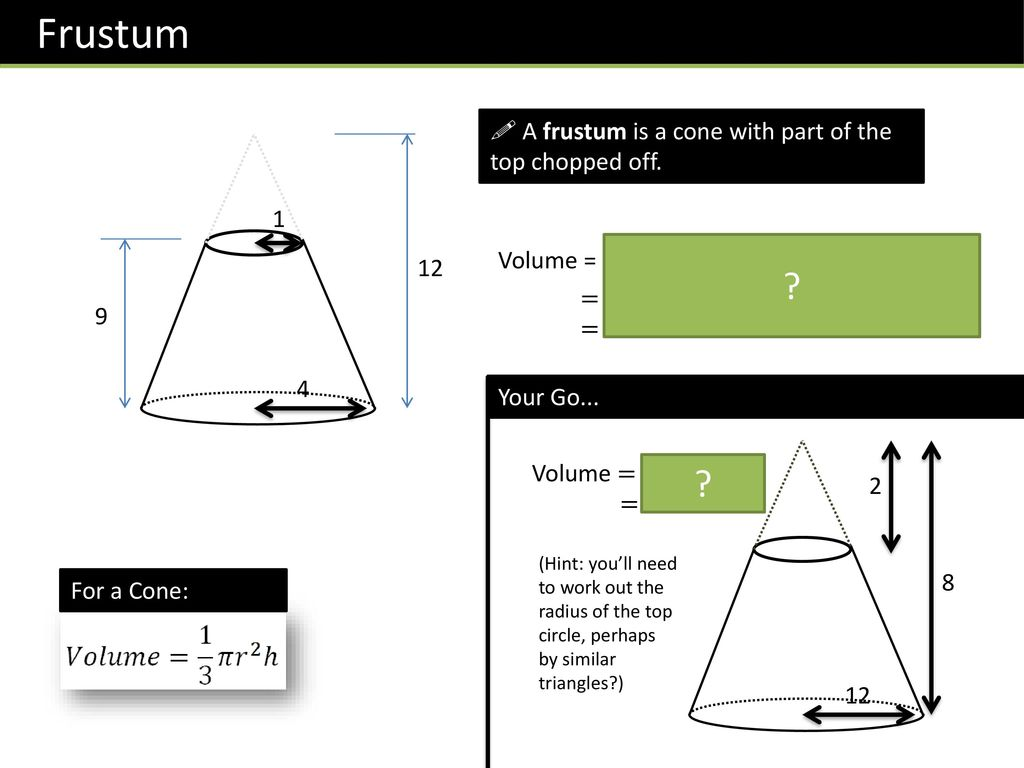 how to work out the volume of a frustum