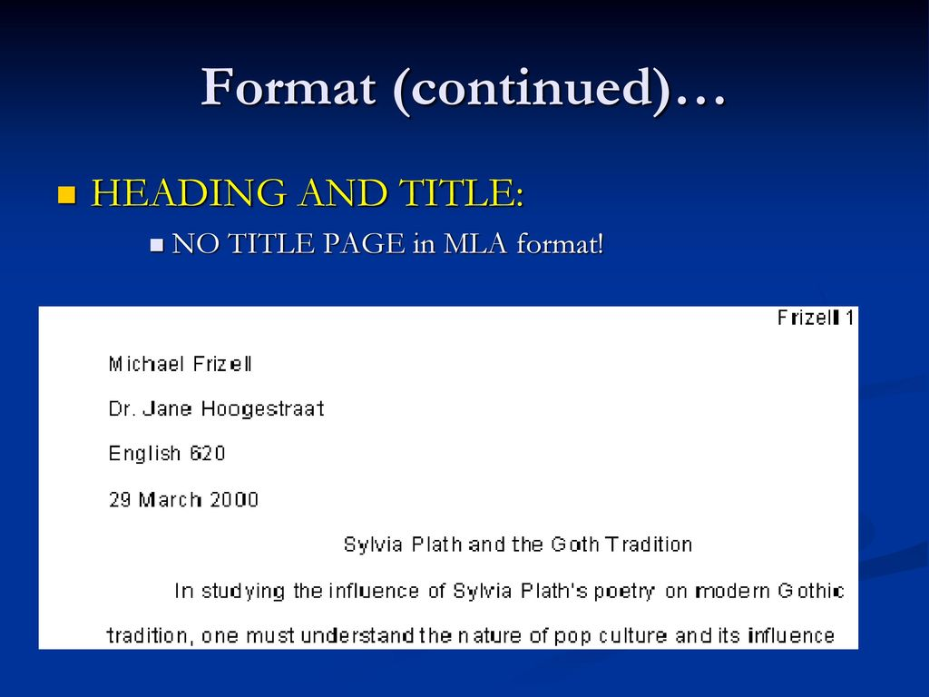 mla format heading and title