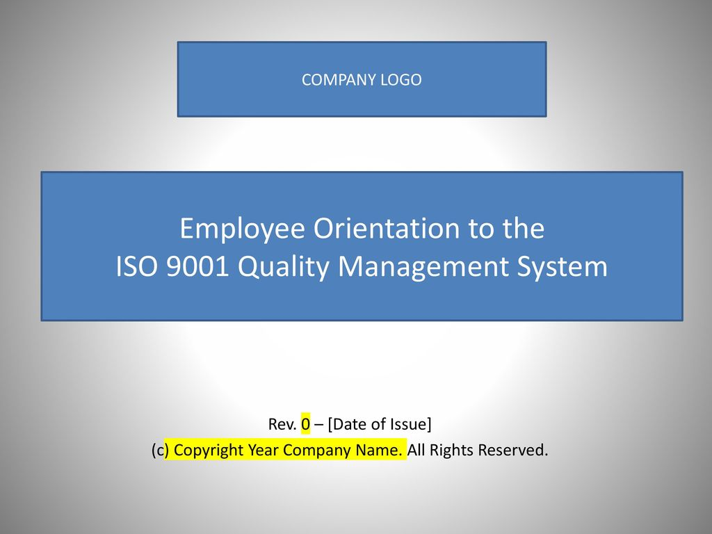 Employee Orientation to the ISO 9001 Quality Management System