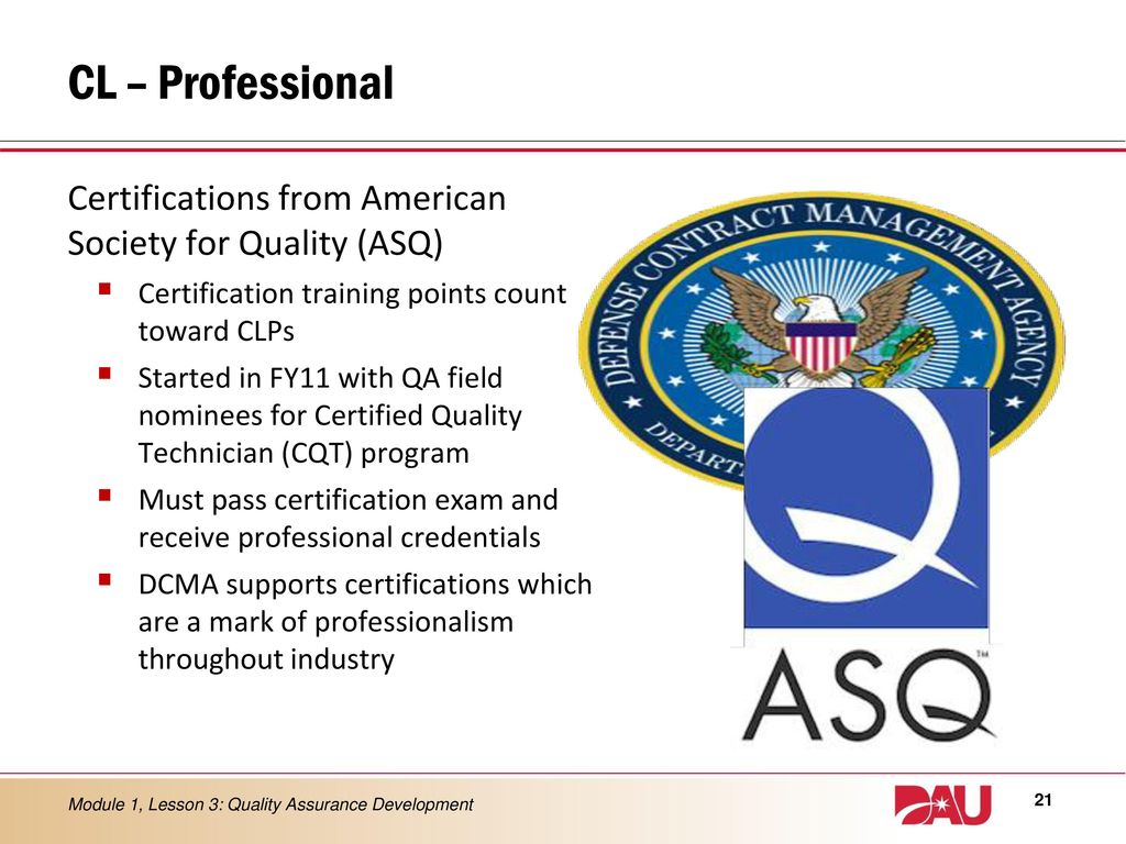 Lesson 3 quality assurance development ppt download cl professional certifications from american society for quality asq certification training points count xflitez Choice Image