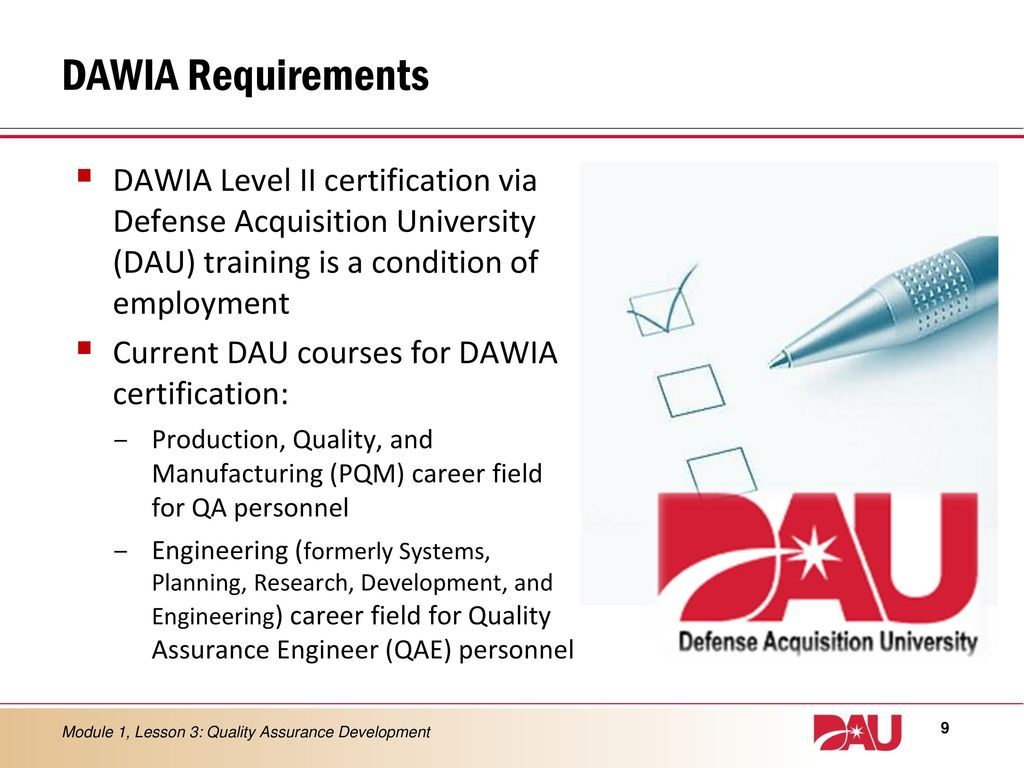 Lesson 3 quality assurance development ppt download 9 dawia requirements dawia level ii certification 1betcityfo Gallery