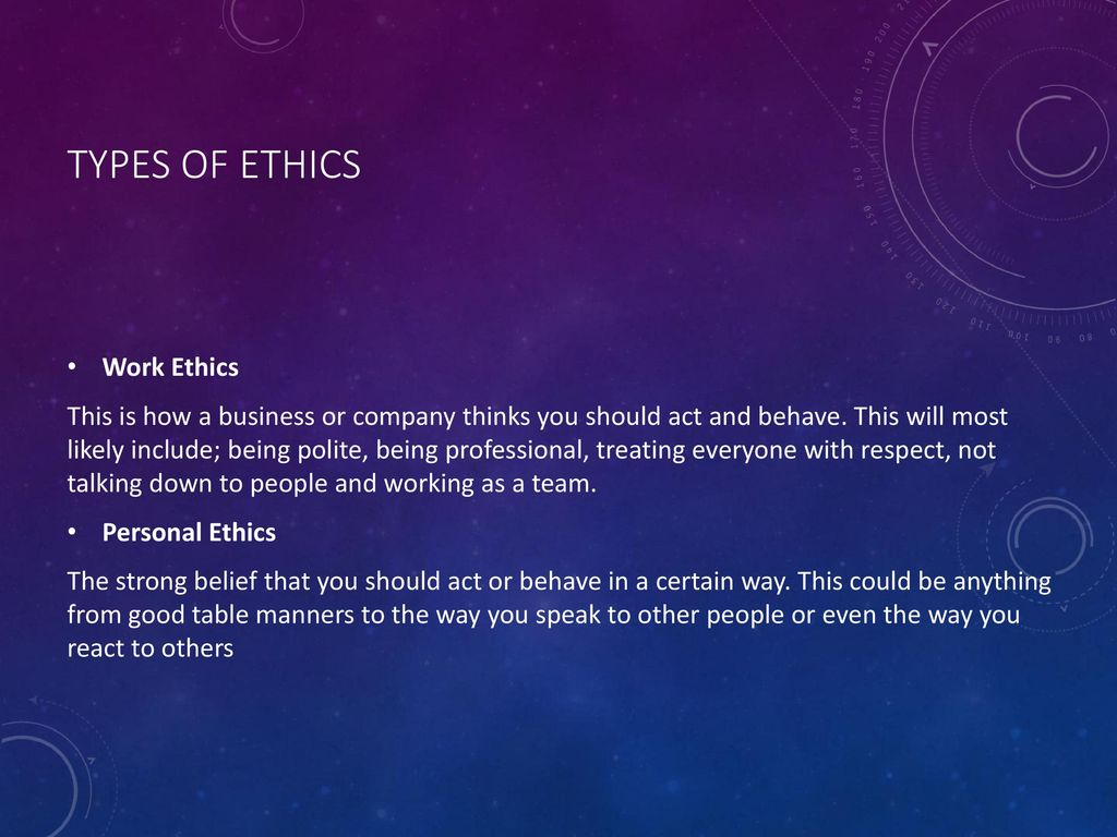 types of ethics Ethics in research - there are many ethical considerations when conducting research this presentation defines and describes various types of ethical misconduct and gives examples this presentation defines and describes various types of ethical misconduct and gives examples.