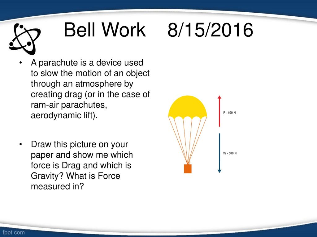 bell work 8/15/2016 a parachute is a device used to slow the motion
