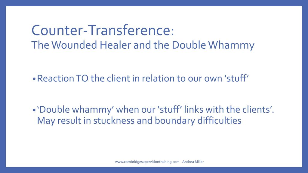 describe the transference counter transference element of the Counter-transference the therapist must always be aware of the possibility that their own internal conflicts could be transferred to the client as well this process, known as counter-transference, can greatly muddy the therapeutic relationship.