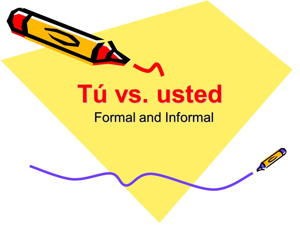 Tú vs. usted Formal and Informal