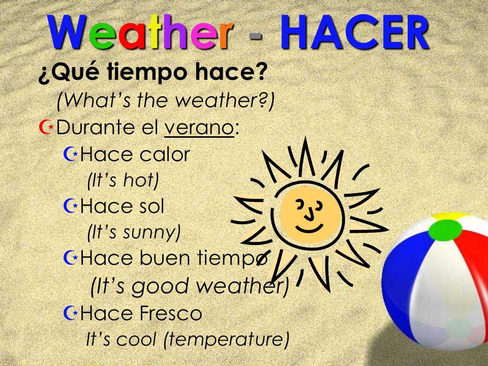 Weather - HACER ¿Qué tiempo hace (It's good weather)
