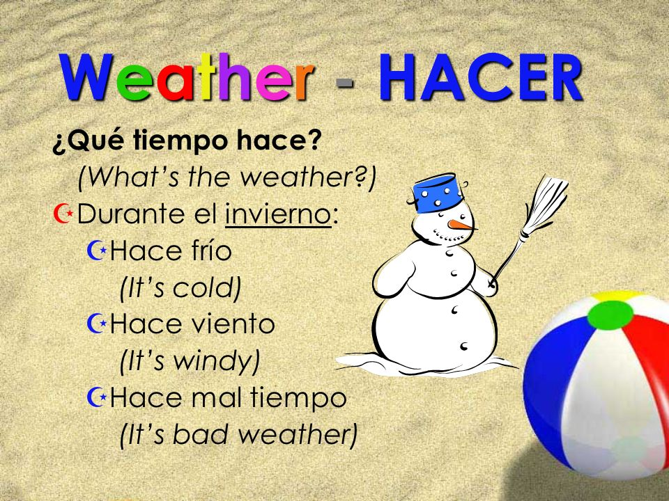 Weather - HACER ¿Qué tiempo hace (What's the weather )