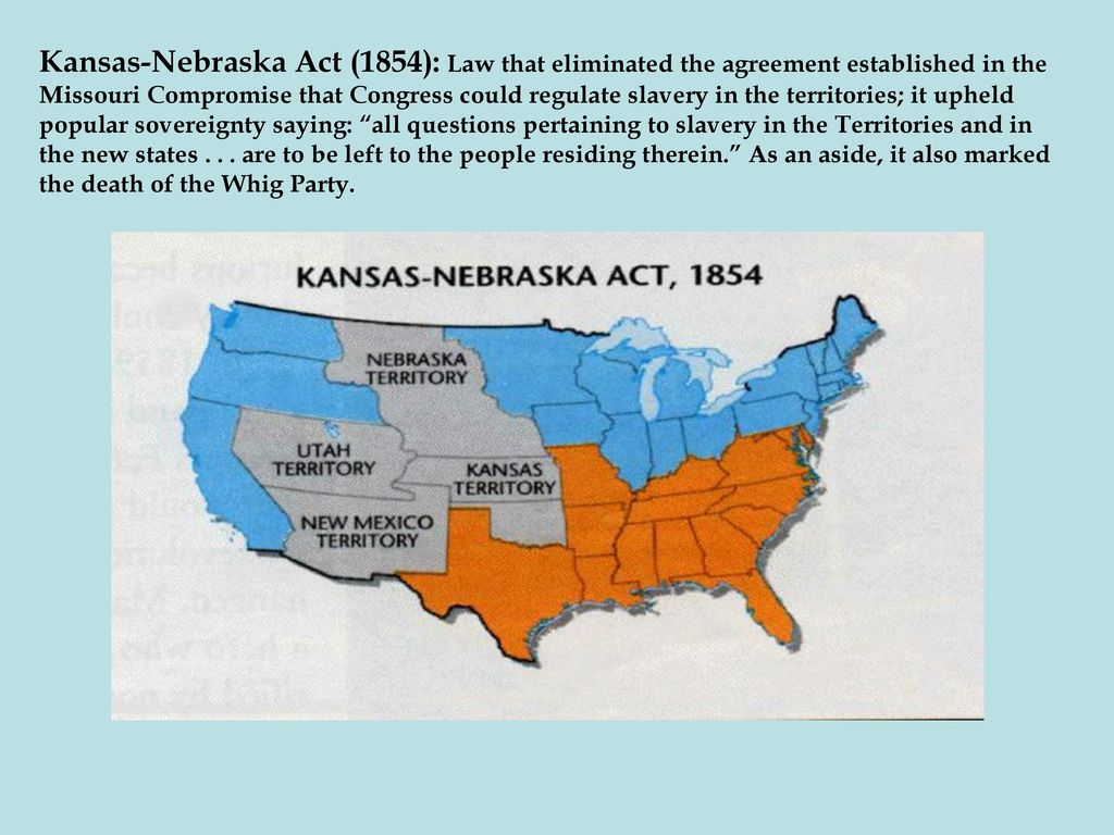 the conflict in political power of the kansas nebraska act The political compromises over slavery the moral issues of slavery the  economic issues of the slave power shifting political alliances and parties  popular  many southerners argue that the war was not about slavery, but rather , it was about  in 1857, the wisconsin supreme court challenged the fugitive  slave act by.