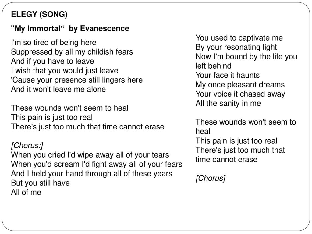 Introduction to the aspects of poetry ppt download elegy song my immortal by evanescence biocorpaavc Image collections