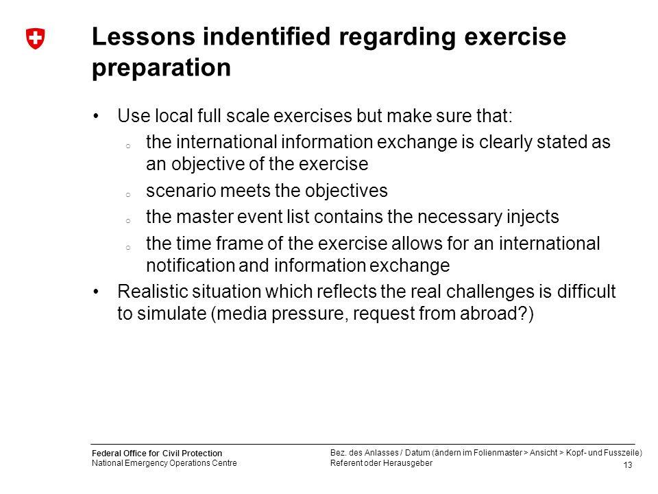 Lessons indentified regarding exercise preparation