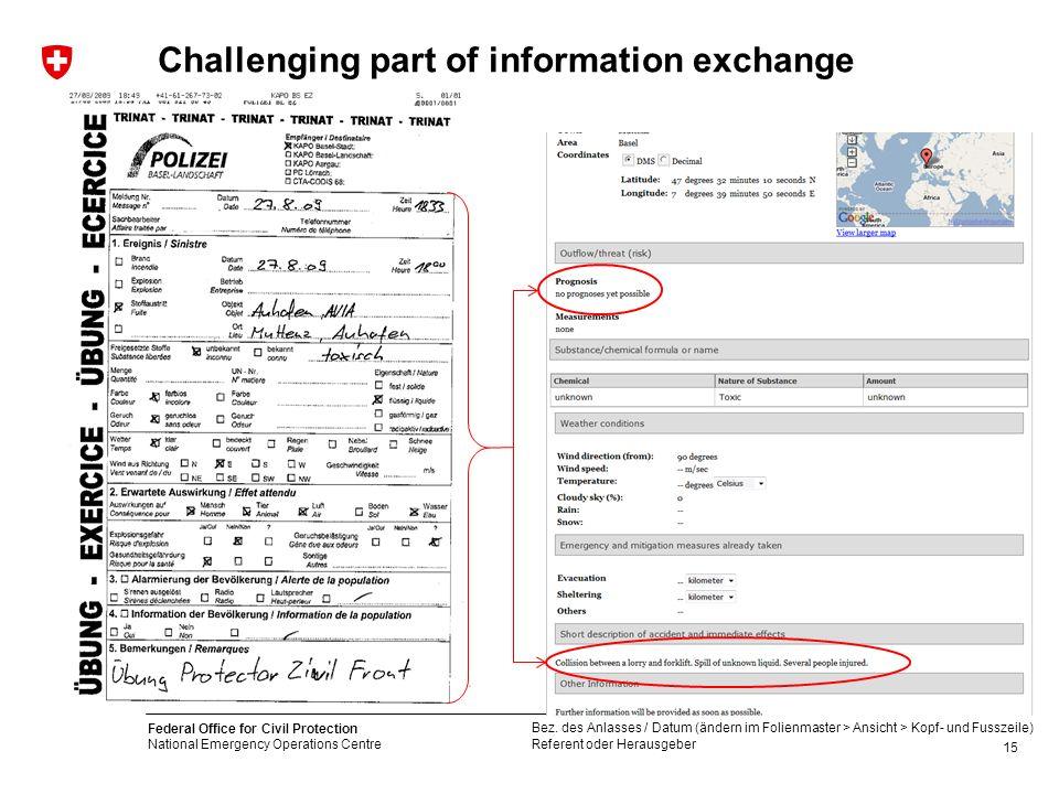 Challenging part of information exchange