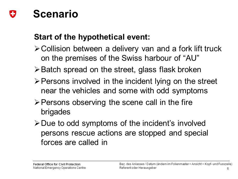 Scenario Start of the hypothetical event: