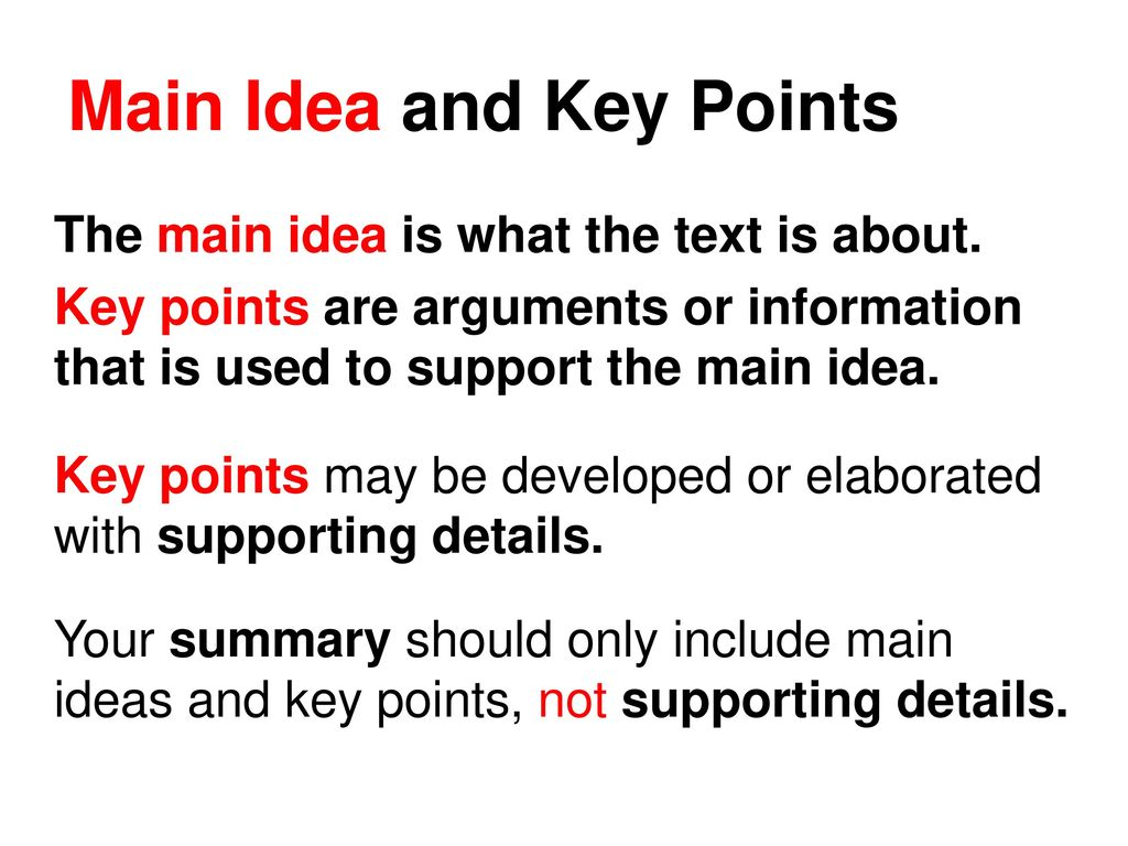 how to find key points in a text ppt