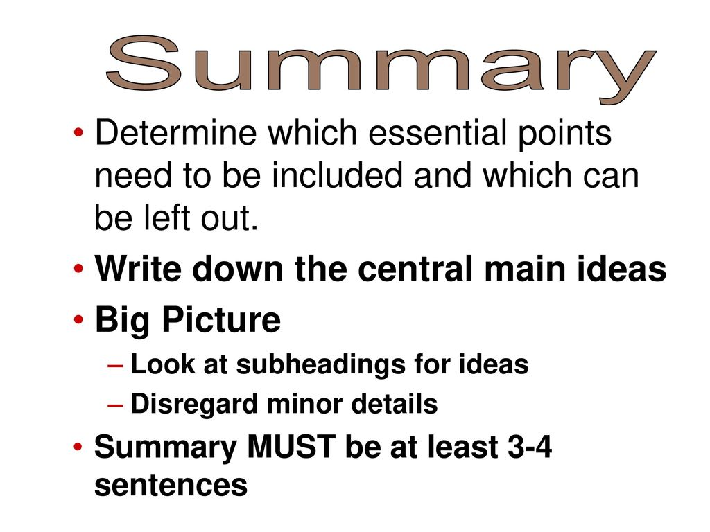 summary of main points from the Point out obvious summary clues like tables of contents, glossaries, discussion questions, and illustrations teach students to identify the main words in each paragraph of text, especially technical terms and words that are not part of daily vocabulary.