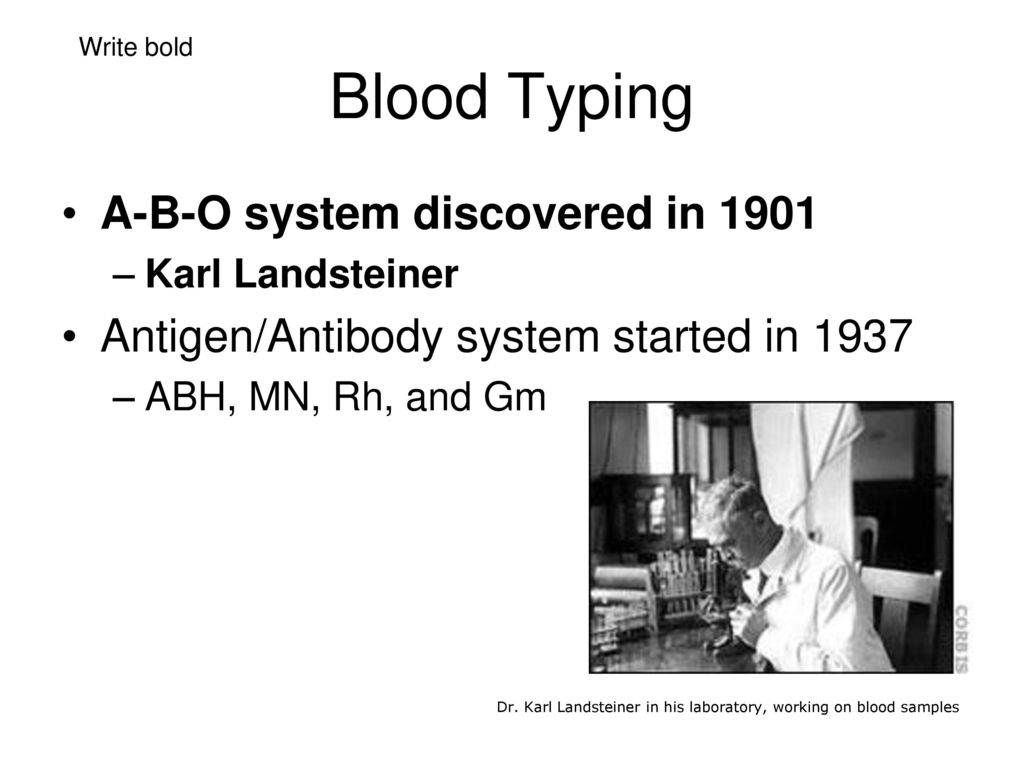 the man who invented blood typing In tests made only with anti-rh' and anti-rh, four types are differentiated  only  amounts to a double blood group scheme, so that any one familiar with the four.