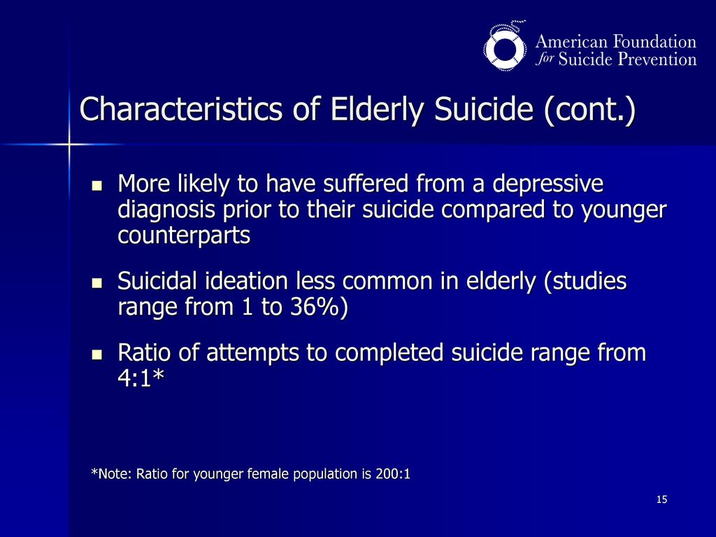 evaluation of suicide research in the elderly The empirical evaluations of programs attending to the needs of high-risk older  adults seemed positive most studies showed a reduction in the level of suicidal.