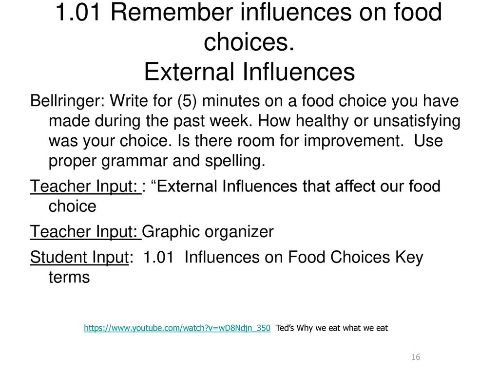 1.01 Remember influences on food choices. External Influences