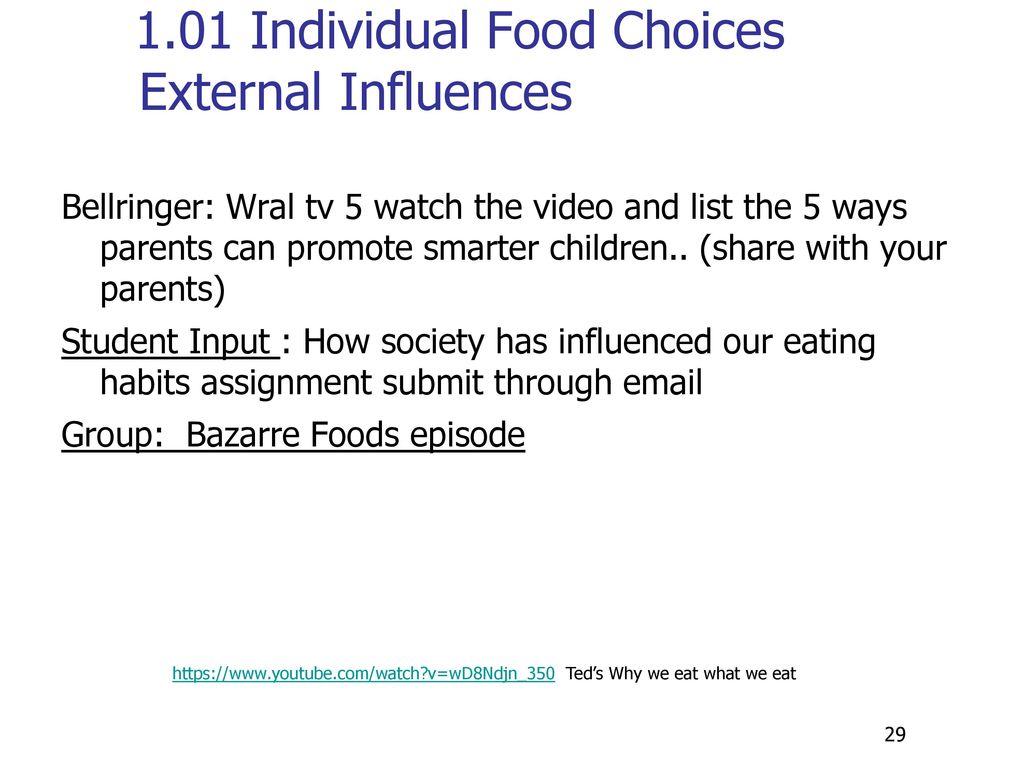 1.01 Individual Food Choices External Influences