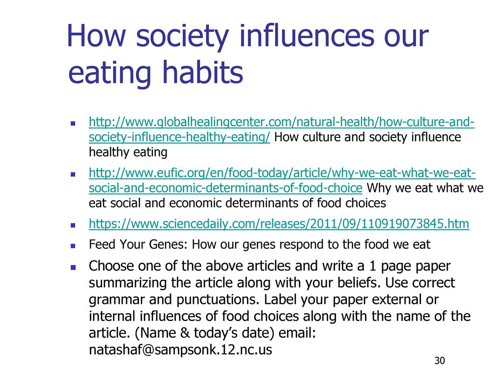 How society influences our eating habits