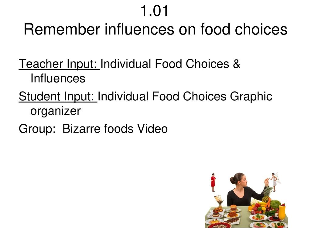 1.01 Remember influences on food choices