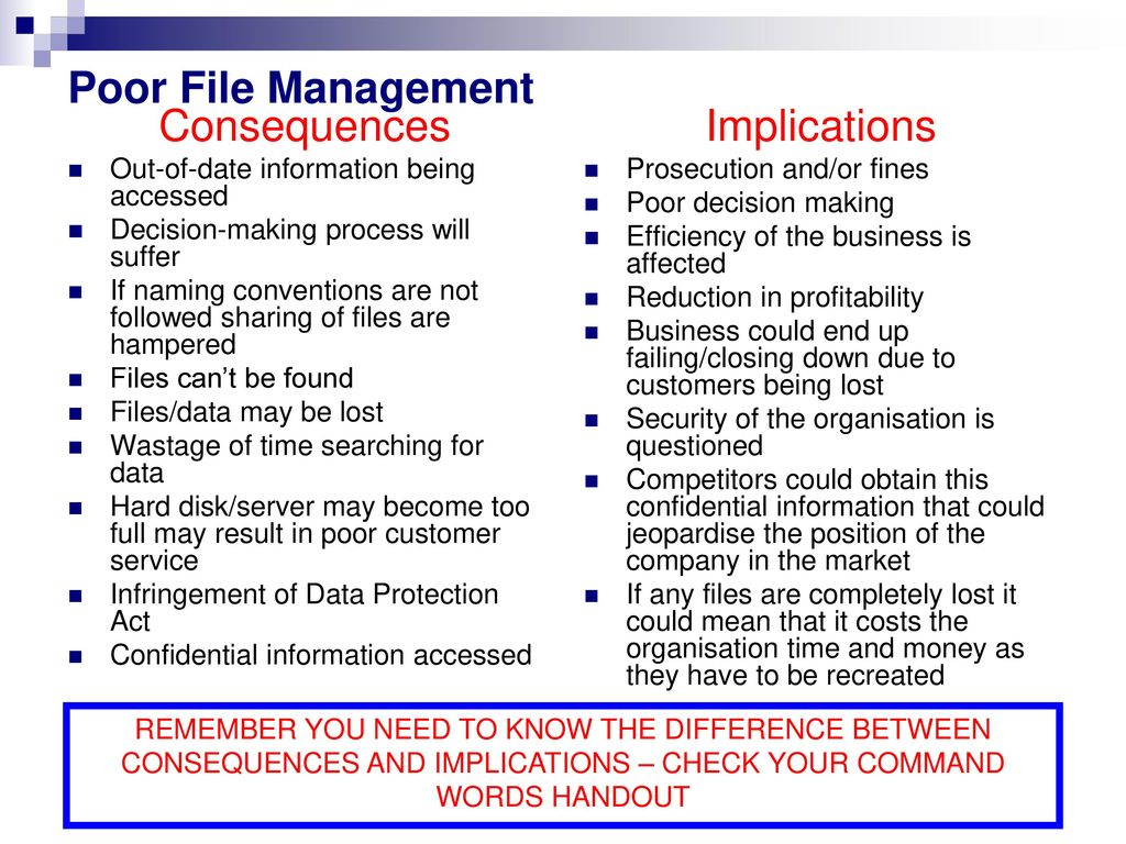 poor filing system Filing receipts properly is especially important a non-existent or messy filing system can add days of extra effort at income tax time as you don't want to miss out on tax deductions due to missing receipts and if your business is ever subject to an audit and you are unable to produce the required documents in support of your expenses your claims will most likely be rejected and your tax.