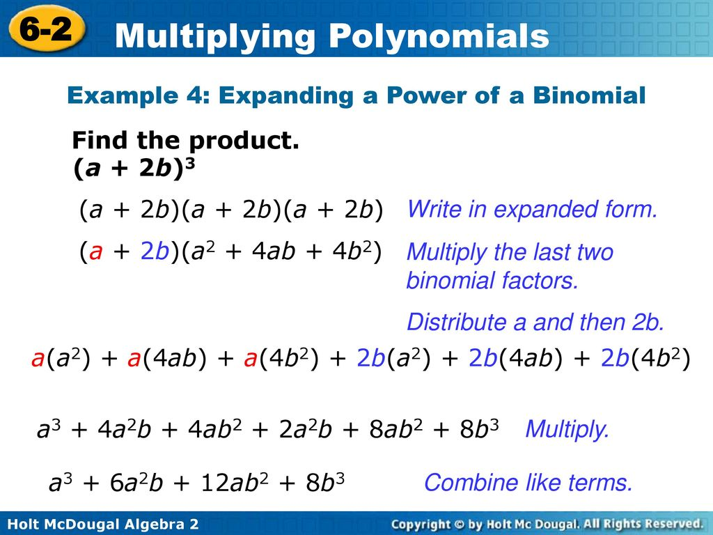 Multiplying polynomials ppt download example 4 expanding a power of a binomial falaconquin