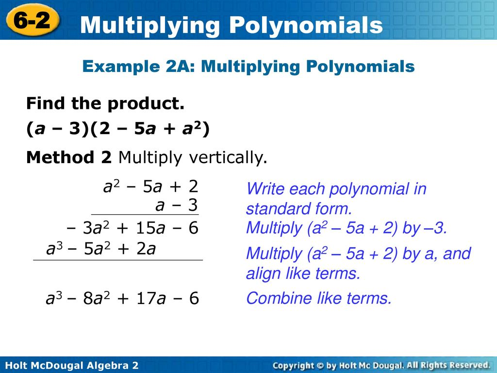 Multiplying polynomials ppt download example 2a multiplying polynomials falaconquin