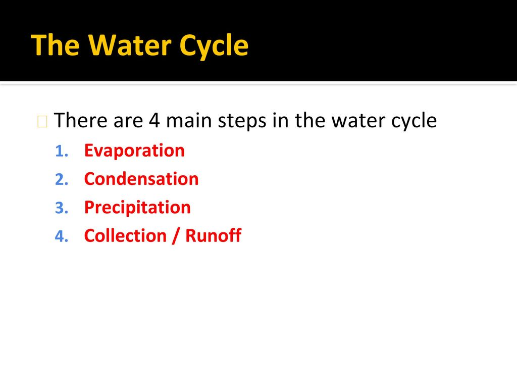 The Water Cycle There are 4 main steps in the water cycle Evaporation