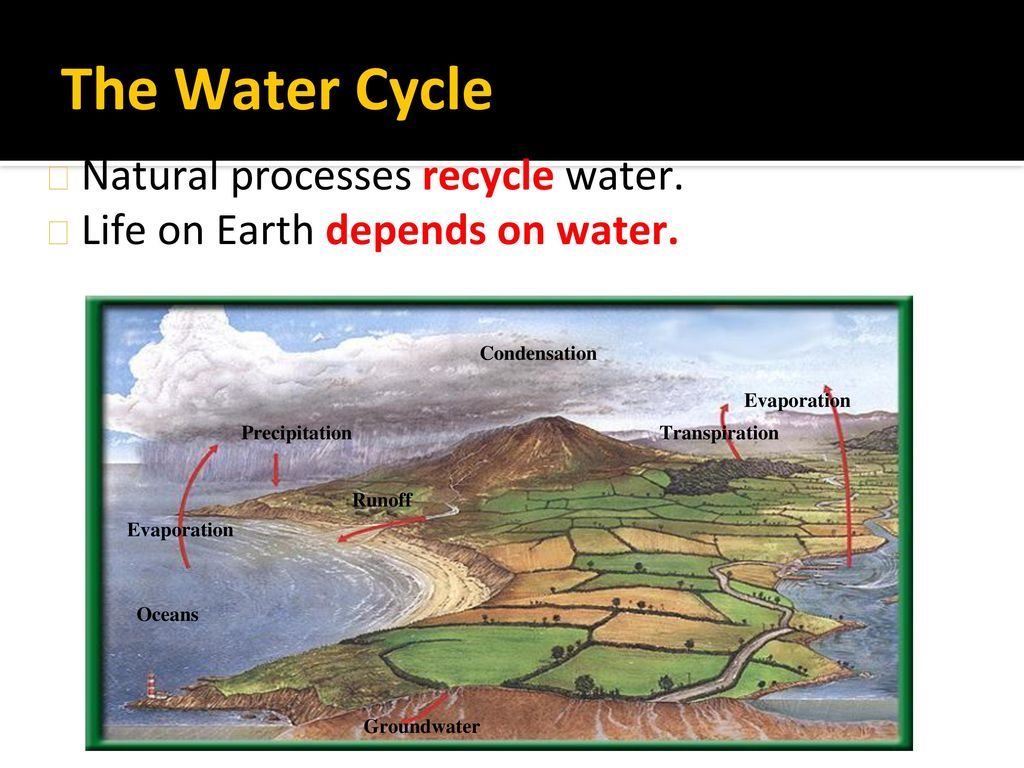 The Water Cycle Natural processes recycle water.