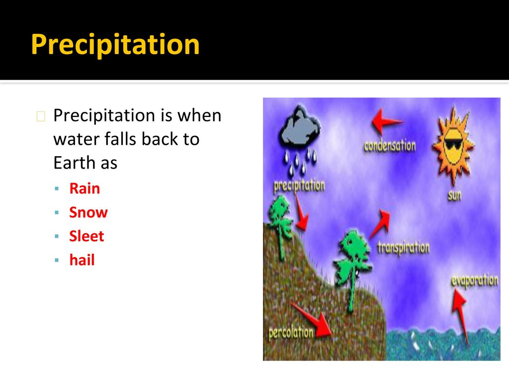 Precipitation Precipitation is when water falls back to Earth as Rain