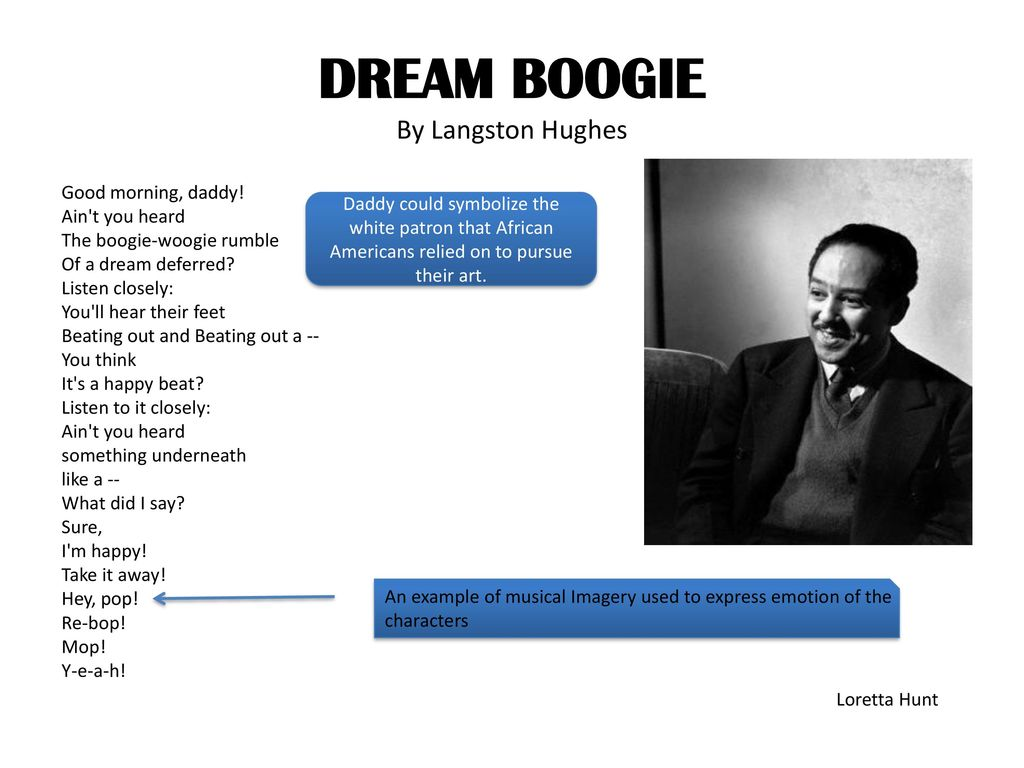 bop langston hughes Montage of a dream deferred is a book-length poem suite published by langston hughes  like be-bop, is marked by  montage of a dream deferred was langston hughes.